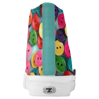 Colorful Custom Zipz High Top Shoes with button