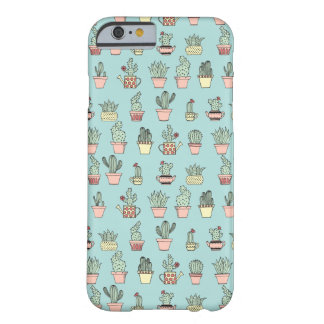 Colorful Cute Cactus In Hand Drawn Style Pattern Barely There iPhone 6 Case