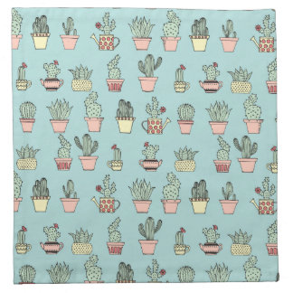 Colorful Cute Cactus In Hand Drawn Style Pattern Napkin