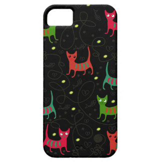 Colorful Cute Cats & Fish Bone Pattern iPhone 5 Cover