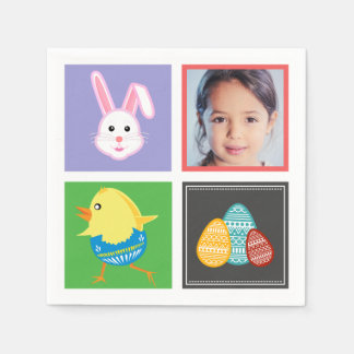 Colorful Cute Easter Bunnies and Eggs Custom Photo Paper Napkins