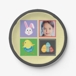 Colorful Cute Easter Bunnies and Eggs Custom Photo Paper Plate