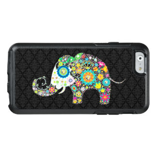 Colorful Cute Elephant Illustration On Black OtterBox iPhone 6/6s Case