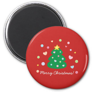 Colorful Cute Festive Merry Christmas Tree Magnet