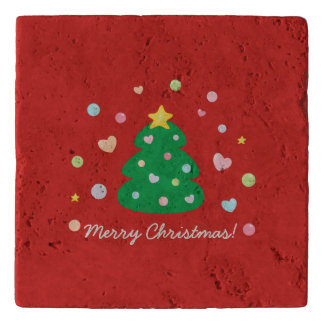 Colorful Cute Festive Merry Christmas Tree Trivet