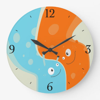 Colorful Cute Fire and Water Element In Hug Large Clock
