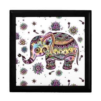 Colorful Cute Floral Elephant Illustration Keepsake Boxes