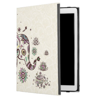 Colorful Cute Floral Elephant On Beige Back
