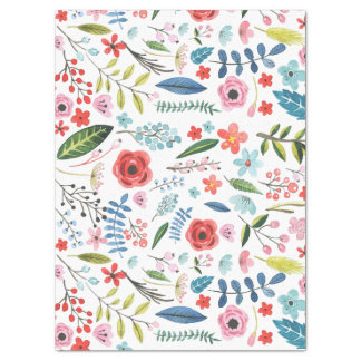 Colorful Cute Flowers & Leafs Pattern Tissue Paper