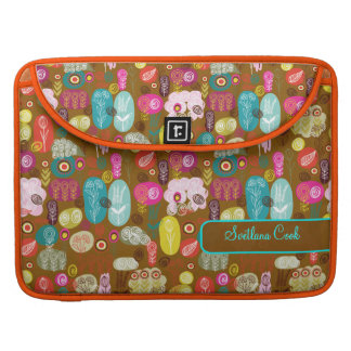 Colorful Cute Hand Drawn Retro Flowers-Monogram Sleeve For MacBook Pro