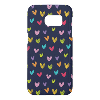 Colorful Cute Hand Drawn Valentines Hearts Pattern Samsung Galaxy S7 Case