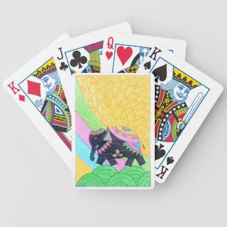 Colorful cute little madhubani elephant bicycle playing cards
