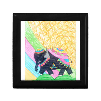 Colorful cute little madhubani elephant gift box