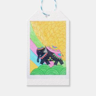Colorful cute little madhubani elephant gift tags