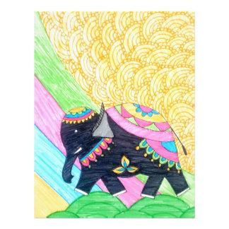 Colorful cute little madhubani elephant letterhead