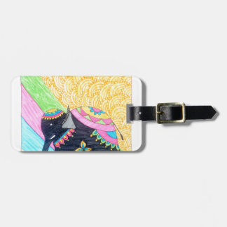 Colorful cute little madhubani elephant luggage tag