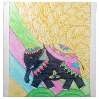 Colorful cute little madhubani elephant napkin