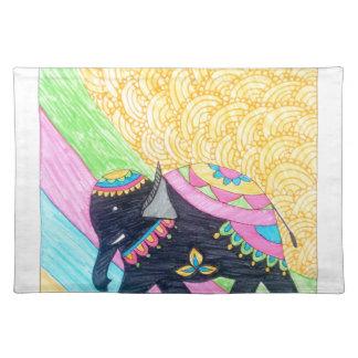 Colorful cute little madhubani elephant placemat