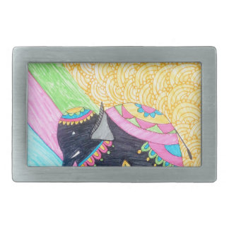 Colorful cute little madhubani elephant rectangular belt buckles