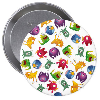 Colorful Cute Monsters Fun Cartoon 4 Inch Round Button