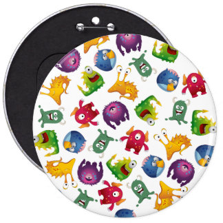 Colorful Cute Monsters Fun Cartoon 6 Inch Round Button