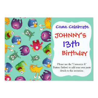 "Colorful Cute Monsters Fun Cartoon 5"" X 7"" Invitation Card"
