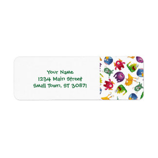 Colorful Cute Monsters Fun Cartoon Return Address Label