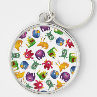 Colorful Cute Monsters Fun Cartoon Silver-Colored Round Keychain