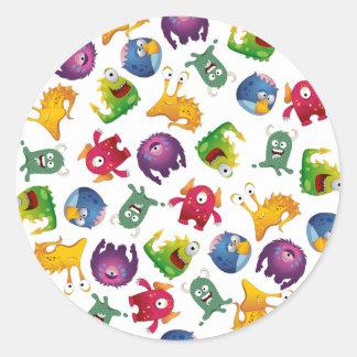 Colorful Cute Monsters Fun Cartoon Round Sticker