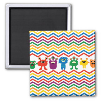 Colorful Cute Monsters Fun Chevron Striped Pattern Square Magnet