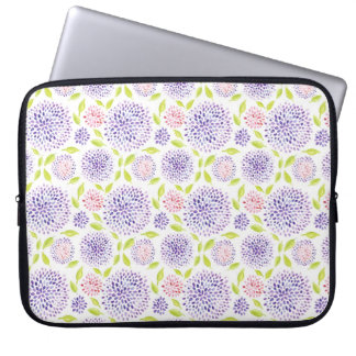 Colorful cute purple pink green floral pattern laptop sleeve