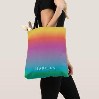 Colorful Cute Rainbow Gradient Ombre Monogram Tote Bag