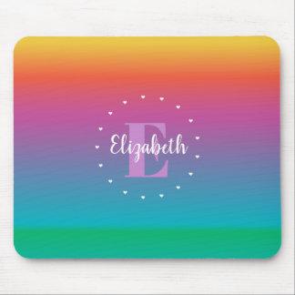 Colorful Cute Rainbow Ombre Gradient Monogram Mouse Pad