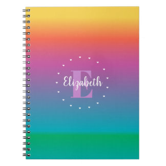 Colorful Cute Rainbow Ombre Gradient Monogram Notebooks