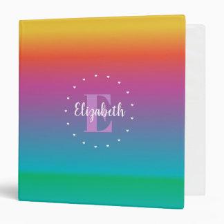 Colorful Cute Rainbow Ombre Multicolored Monogram Binders