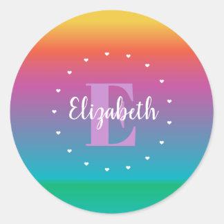 Colorful Cute Rainbow Ombre Multicolored Monogram Classic Round Sticker