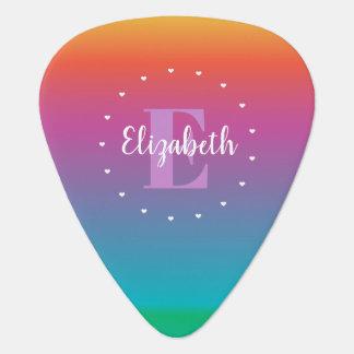 Colorful Cute Rainbow Ombre Multicolored Monogram Guitar Pick
