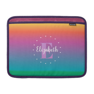 Colorful Cute Rainbow Ombre Multicolored Monogram MacBook Sleeve