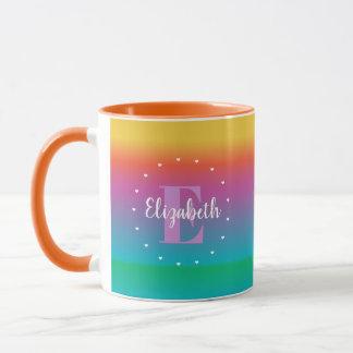 Colorful Cute Rainbow Ombre Multicolored Monogram Mug