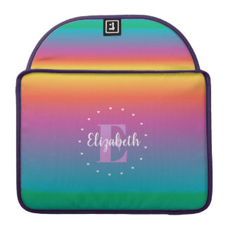 Colorful Cute Rainbow Ombre Multicolored Monogram Sleeve For MacBooks
