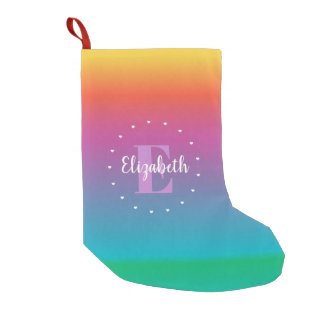 Colorful Cute Rainbow Ombre Multicolored Monogram Small Christmas Stocking