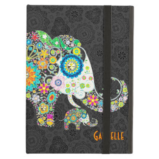 Colorful Cute Retro Floral Elephant Illustration Case For iPad Air