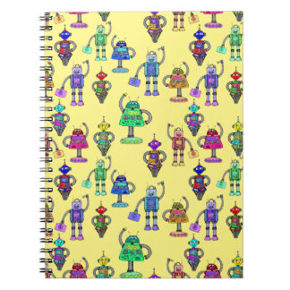 Colorful cute robots on a yellow background note books
