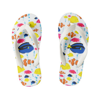Colorful Cute Whimsical Tropical Fish and Bubbles Kid's Flip Flops