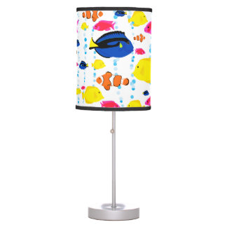 Colorful Cute Whimsical Tropical Fish and Bubbles Table Lamp