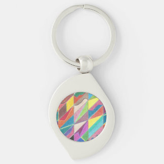 Colorful Cuts and Facets Metal Keychain