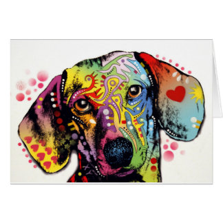 colorful Dachshund art Card