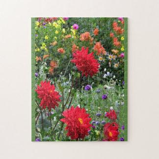 Colorful Dahlia Flower Garden Floral Puzzle