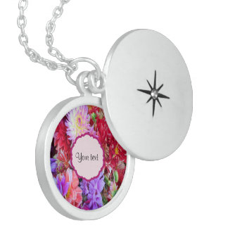 Colorful Dahlias Sterling Silver Necklace