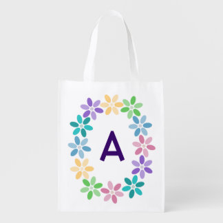 * Colorful Daisy Circlet Monogrammed Reusable Grocery Bag